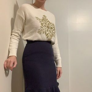 White and Gold Snowflake Sweater